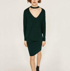 Zara v neck choker sweater dress small/ medium